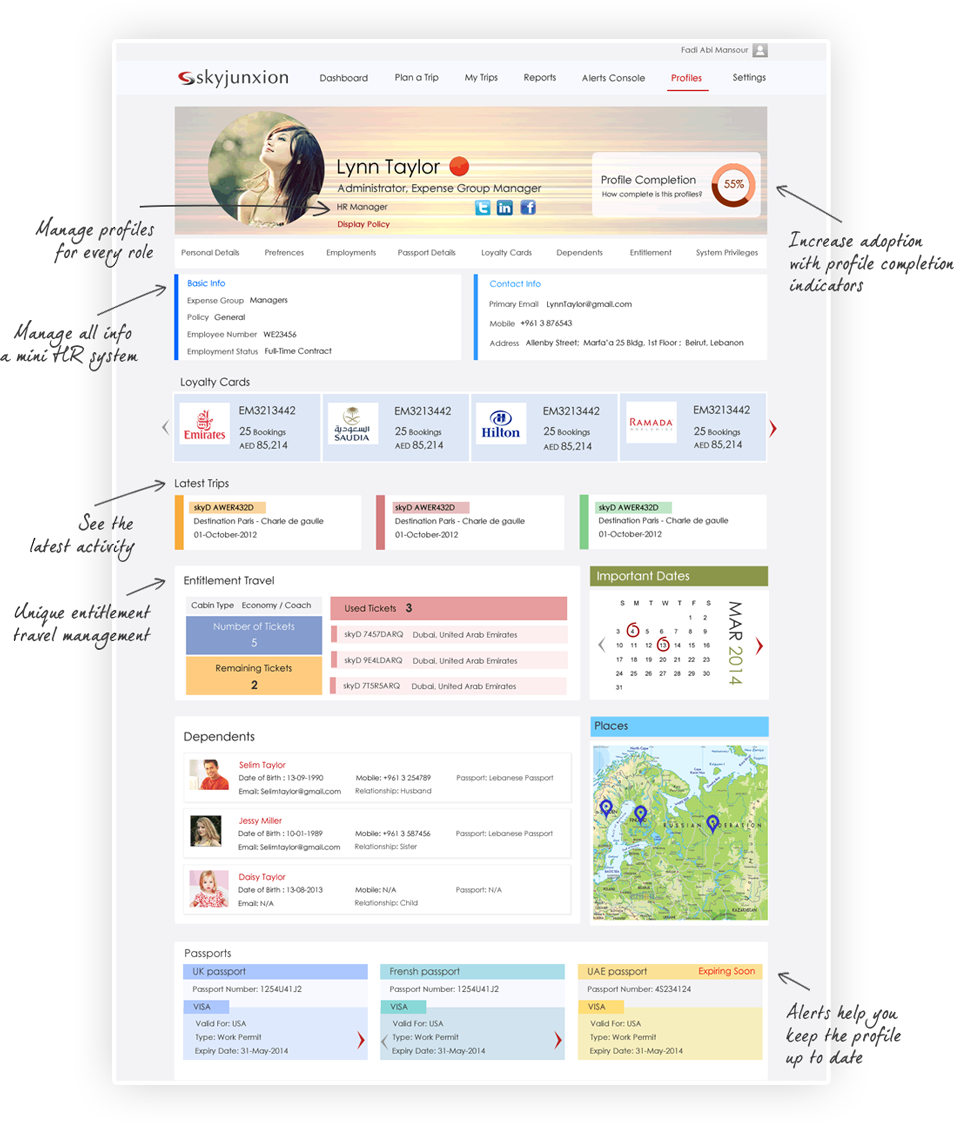 travel and expense management software, profile management